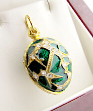 UNIQUE HANDMADE OF SOLID STERLING SILVER 925 & 24K GOLD ENAMELED EGG PENDANT