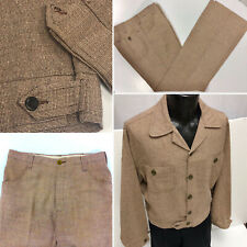 Vtg 40-50's Tobias Men Brown MoD Hopsack Button Back Rockabilly Leisure Suit L