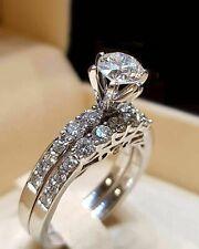 2.10 CT Round Cut Diamond Engagement Bridal Ring Wedding Set 14K White Gold Over