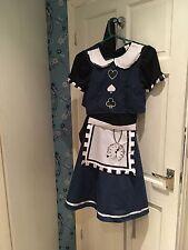 Brand New Size S/8 Teen Dark Day Dreamer Alice In Wonderland Fancy Dress Costume
