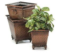 Metal Planters Decor Diamond Design Home Set 3 Garden Small Medium Large New