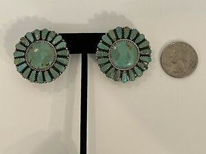 LARRY MOSES BEGAY Vintage Sterling Silver Navajo Turquoise Cluster Earrings