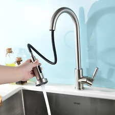Pull Out Spray Kitchen Mixer Sink Taps Stainless Steel Swivel Brushed Nickel NEW