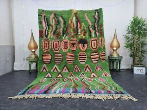 """Moroccan Boujaad Handmade Rug 5'7""""x8'5"""" Berber Abstract Green Black Wool Rug"""