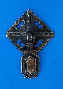 Circa 1900 Arts & Crafts Mission Antique Hardware  Brass Drop Ring Drawer Pull