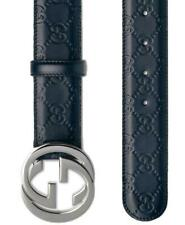 NEW GUCCI GUCCISSIMA BLUE GG LEATHER INTERLOCKING G PALLADIUM BUCKLE BELT 95/38