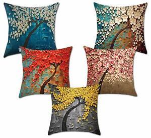 Jute Tree 200 TC Cushion Cover Multicolor, Set of 5 US