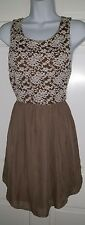 Mary Jane taupe brown floral lace chiffon sleeveless sheer dress. S M