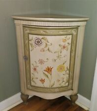 Hand painted corner cupboard cabinet lacquered wood antique style