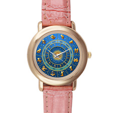 Pink Leather Gold Watch Case Zodiac Horoscope Astronomy Unique Gift Star Sign