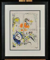 """> Vintage original lithograph on paper. """"Paris de la Fenêtre"""" Marc Chagall 1969"""