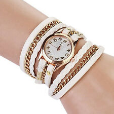 Women Vintage Fashion Faux Leather Bracelet Quartz Wrist Watch Wristwatches Hot
