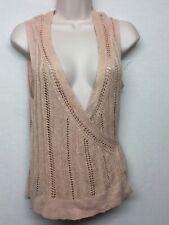 New Banana Republic Women's Sleeveless Belted Open Front Cardigan Pink Petite L
