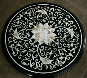 21 x 21 Inches Black Marble Coffee Table Top Round Center Table with Inlay Art
