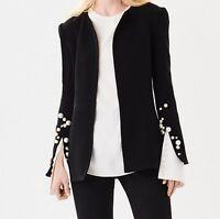 Oscar De La Renta Pearl-Embroidered Stretch Wool Crepe Jacket U.K.12 Black BNWT