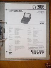 Manual de servicio Sony gv-200b video 8 TV grabador, origina