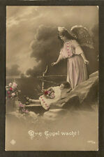 TINTED REAL-PHOTO POSTCARD:  ANGEL WATCHING A LITTLE GIRL SLEEP - Mailed, 1911