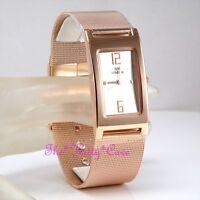 Designer Retro Elegant Chainmail Mesh Stainless Steel Rose Gold Plt Unisex Watch