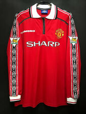 1999 Manchester United Home Shirt Long sleeves All Sizes By Umbro