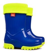 Kids Boys Girls Wellies Wellington Boots Rainy Snow Fluo Neon Warm Liner