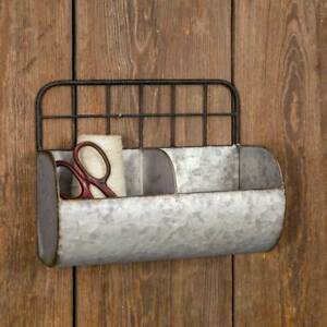 Great Rustic Industrial Farmhouse Chic Small Divided Wire Back Wall Bin/Shelf