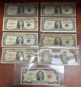 Set of 8 $1 1935 D E 1957 A B Silver Certificates + 1963 A $2 Red Seal US Note