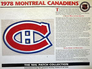WILLABEE WARD ~ NHL THROWBACK HOCKEY PATCH & INFO CARD ~ 1978 MONTREAL CANADIENS