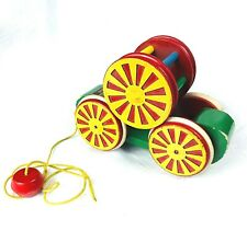 Vintage Original early BRIO Pull Toy Cart with Bell wooden pull toy