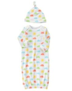 GYMBOREE NEWBORN ESSENTIALS WHITE w/ CLOUD & SUN GOWN with HAT 6 9 NWT