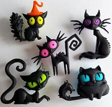Capitonnage Out Chats Chaton Noir Animal Spooky Halloween Dress It Up Craft Boutons