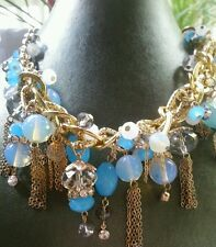 DESIGNER STYLE GOLD TONE NECKLACE W FACETED  BLUE SIMULATED STONES CRYSTALS