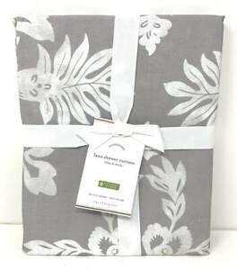 New~Pottery Barn Lana Cotton Shower Curtain~Gray White