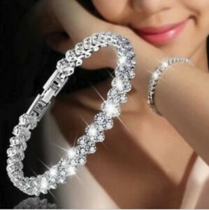 925 Sterling Silver plated Diamond Love Bracelet Shinny Gift Couple Crystal