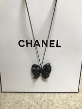 Pre-owned Authentic Chanel Black Metal Necklace Bow Pendant With Cc Logo