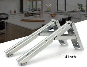 """2x 14"""" in acciaio inossidabile Supporto Staffe Per Mensola Pieghevoli Ripiani JF"""