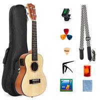 Kmise Concert  Electric Ukulele Solid Spruce 23 Inch Uke Hawaii Guitar With EQ