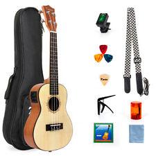 Kmise Electric Ukulele Uke Concert Ukelele Hawaii Guitar Solid Spruce 23 Inch