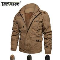 TACVASEN Men Winter Thermal Fleece Jacket Cargo Zipper Pockets Windbreaker Coats