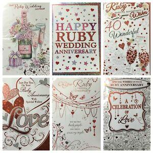 Ruby Wedding anniversary card (@)