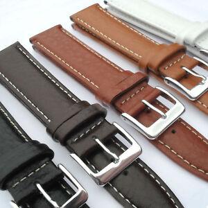 Genuine Leather Watch Strap Buffalo Calf Black Brown White Tan 18 20 22mm Band