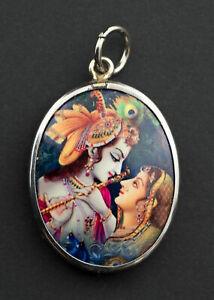 Krishna et Radha Medaille Om pendentif Dieu Hindou Talisman contre demons 26845