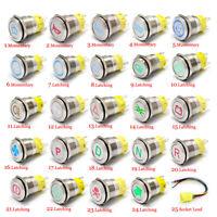 19MM 12V 5A Edelstahl Drucktaster Druckschalter Knopf Chrom Beleuchtet LED CE