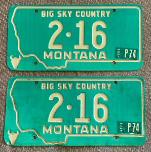 Montana 1974 CASCADE COUNTY LOW NUMBER License Plate PAIR # 2-16