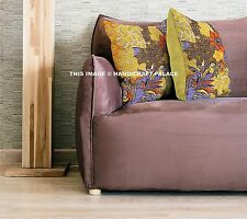 """Indian Yellow Flower Pillow Cushion Cover Bohemian Kantha 16X16"""" Inches Case"""