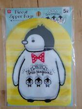 DAISO JAPAN Diecut Zipper Bags Three Penguins 5 pcs