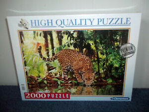 LEOPARD DRINKING - CLEMENTONI - 2000 PIECE JIGSAW PUZZLE - NEW & SEALED - RARE