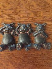 Super Cute Cast iron Pig Wall Hooks See No Evil Hear No Evil Speak No Evil