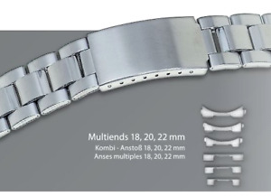 ROWI LINK Metal Steel Watch Band Bracelet 18MM 20MM 22MM CURVED OR STRAIGHT ENDS