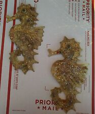 *PAIR* Vintage Mid Century Lucite Resin Shell Art Seahorse Wall Plaques RETRO