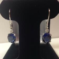 Natural Certified 925 Sterling Silver 4Ct Blue Sapphire Gemstone Antique Earring